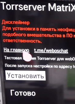 Torrserver MatriX для WebOS установлен
